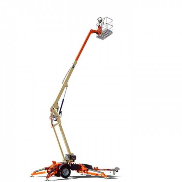 Articulating Trailer 35 ft - JLG - Electric - Work Height: 41 ft; Horizontal Outreach: 20 ft 2 in./6.15 m; Platform Capacity: 500 lb/226.80 kg; Weight: 3400 lb/1542.21 kg