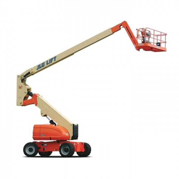 Diesel Articulating 80 ft - JLG - Diesel - Work Height: 86 ft (26.2 m); Horizontal Outreach: 51 ft 10 in (15.8 m); Platform Capacity: 500 lb (227 kg); Weight: 34,300 lb (15,558 kg)