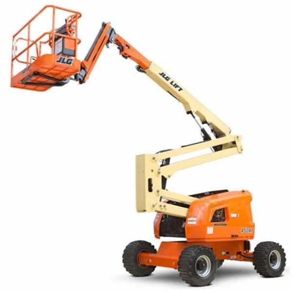 Diesel Articulating 45 ft - JLG - Diesel - Work Height: 51 ft (15.5 m); Horizontal Outreach: 25 ft (7.62 m); Platform Capacity: 550 lb (250 kg); Weight: 12,650 lb (5,738 kg)