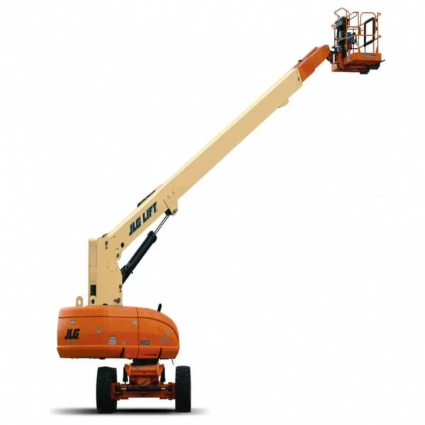 Telescopic Boom Lift 800S - JLG - Gas - Platform Height: 80 ft/24.38 m; Platform Capacity - Restricted: 1000 lb/453.59 kg; Platform Capacity - Unrestricted: 500 lb/226.80 kg; Horizontal Outreach: 71 ft/21.64 m