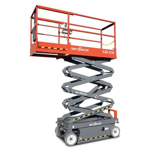 Electric Scissor 19 ft - Skyjack - Electric - Work Height: 25 ft (7.62 m); Platform Capacity: 550 lbs (249 kg); Weight: 2,580 lbs (1,170 kg)